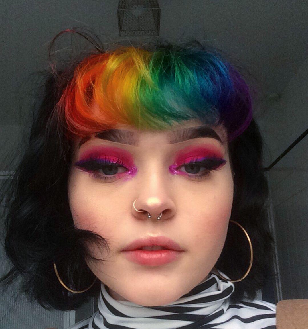 Cute Rainbow Bangs Look In 2020 Split Dyed Hair Aesthetic Hair Dyed Hair