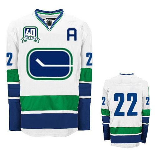Daniel Sedin Road White Jersey, Reebok NHL Vancouver Canucks #22 Third With  40th Patch