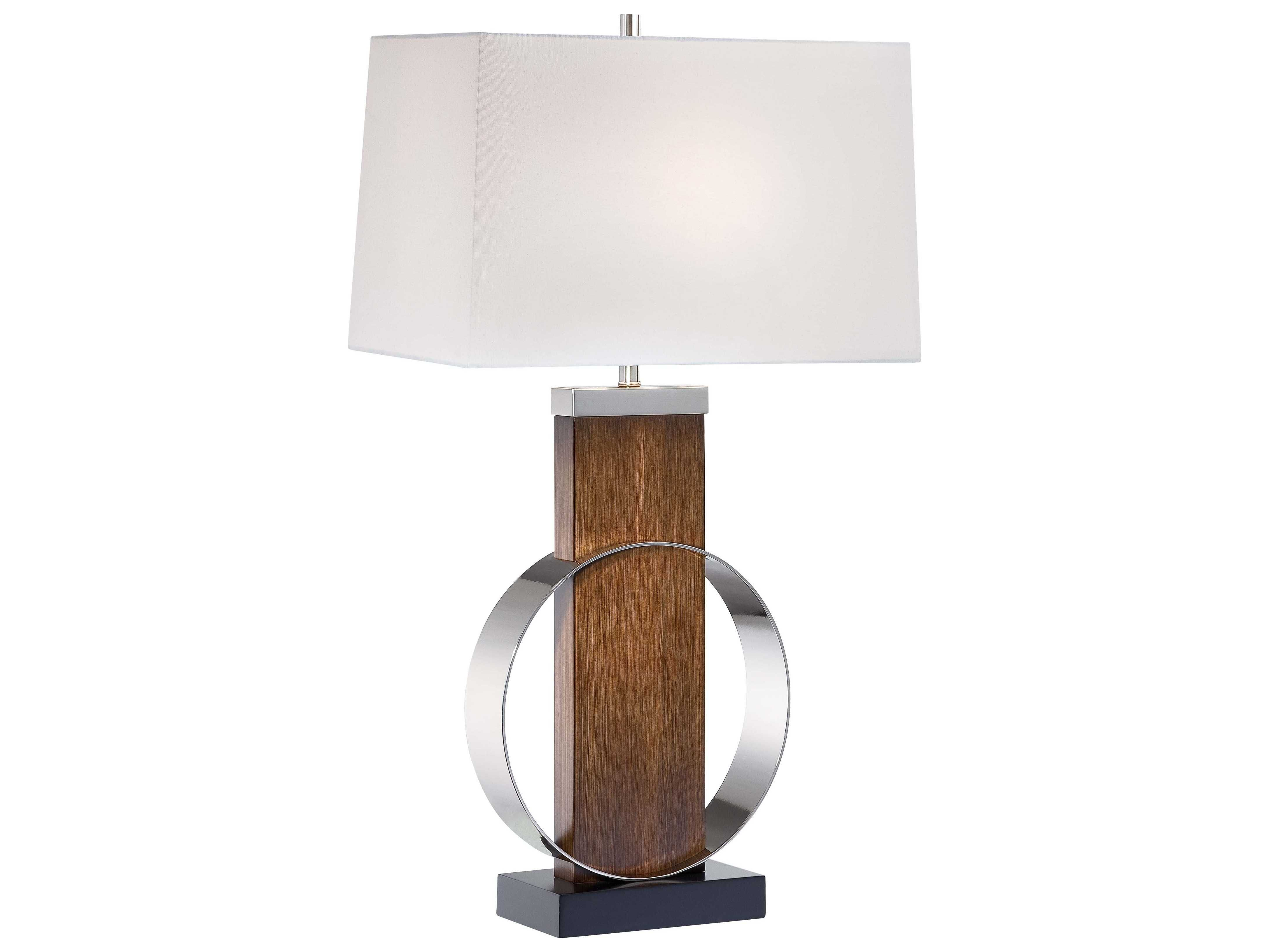 Minka lavery dark walnut black wood polished nickel black metal ambience am 10031 1 light height table lamp with white linen shade dark walnut lamps table lamps mozeypictures Image collections