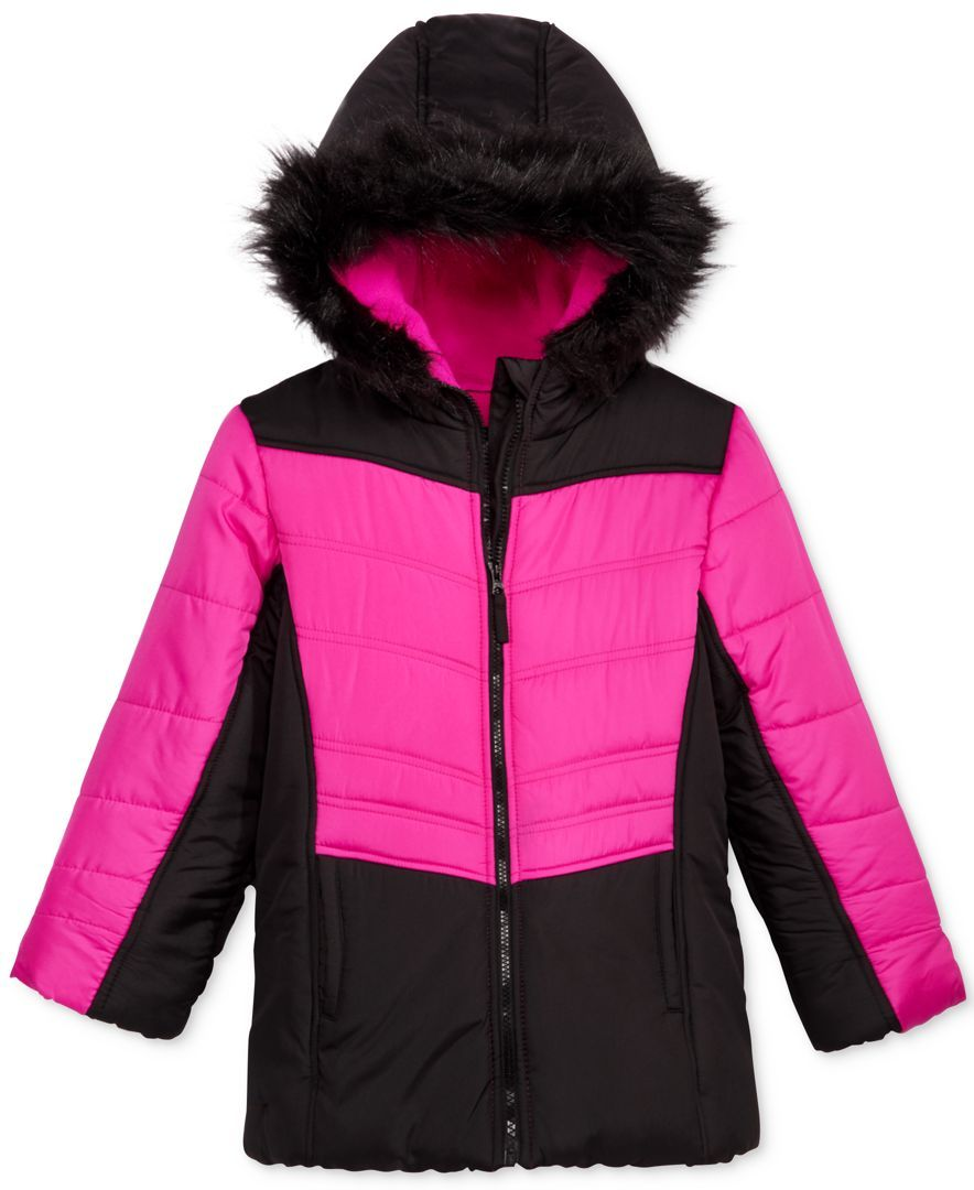 34e8d82e149e S. Rothschild Hooded Colorblocked Puffer Jacket with Faux-Fur Trim ...