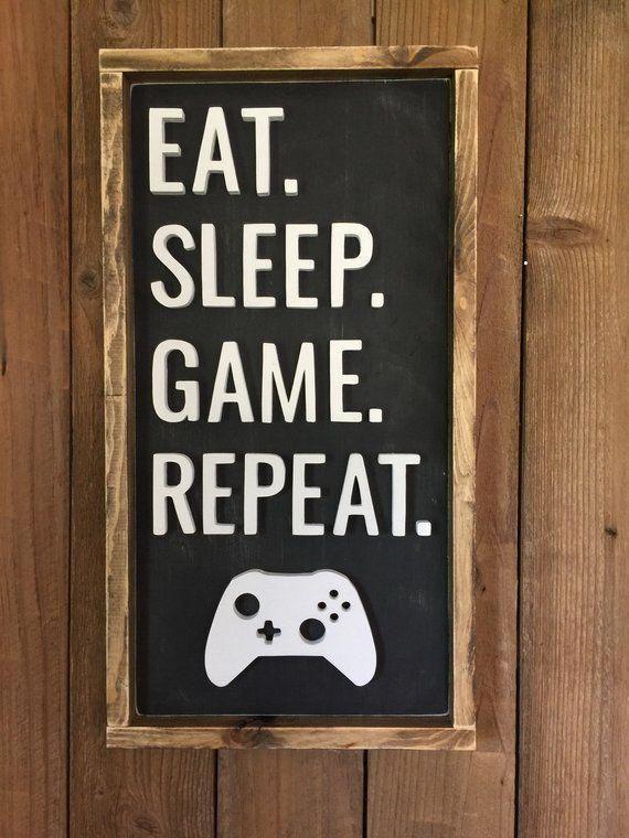 Game Room Wood Sign Eat Sleep Game Repeat Decor Gamer   Etsy #gameroomdecorideasbardesigns #gamerroom