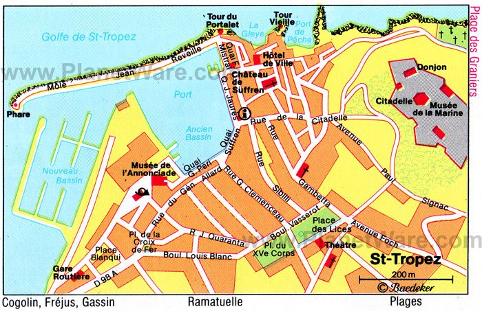 Saint Tropez Map Tourist Attractions Saint Maxime
