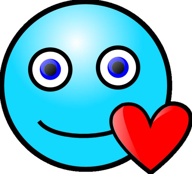 Ei Smiley Bleu Avec Un Cœur Rouge Emoticone Clipart Cartoon Telechargement Gratuit Et Sans Inscription Clip Art Love Smiley Smiley Horror