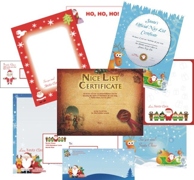 All the Santa letters here have matching Nice List certificates.  http://freesantalettersonline.com/