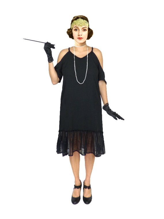 50de15b266e Retro Flapper Dress Black Lace Cut Out Shoulder Great Gatsby Costume 1920s  Roaring 20s Downton Abbey
