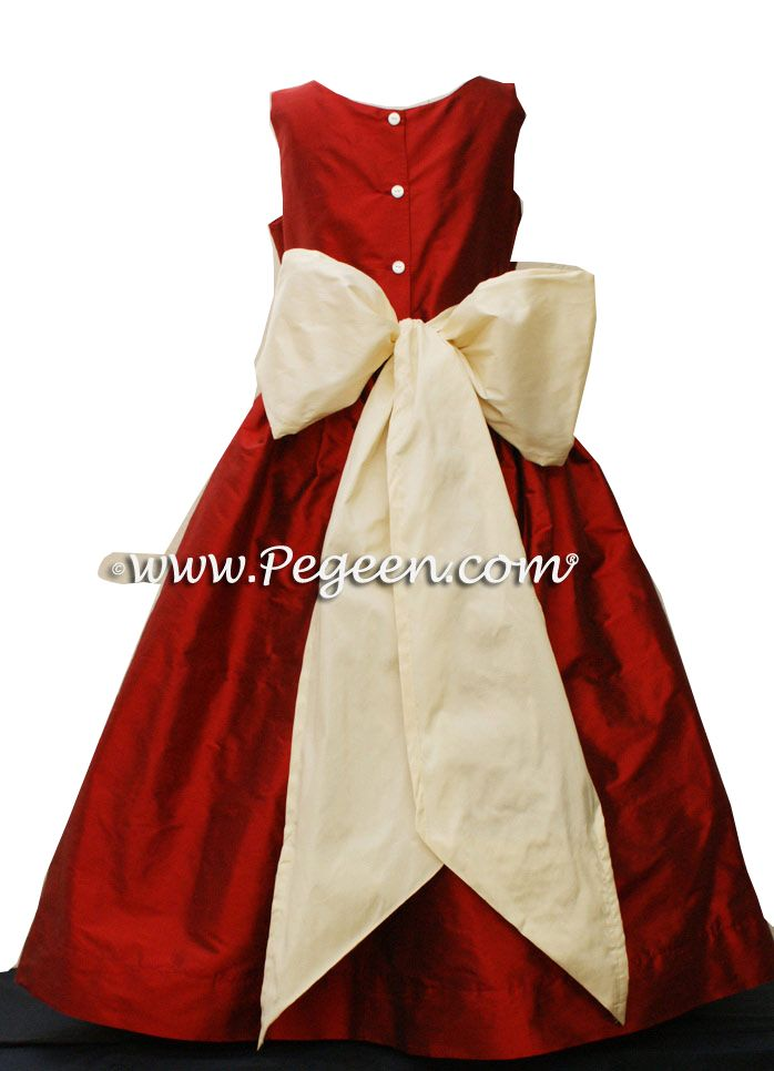 a7ca5ddda0b CLARET RED AND BUTTERCREME (IVORY) FLOWER GIRL DRESS OR JR BRIDESMAIDS DRESS