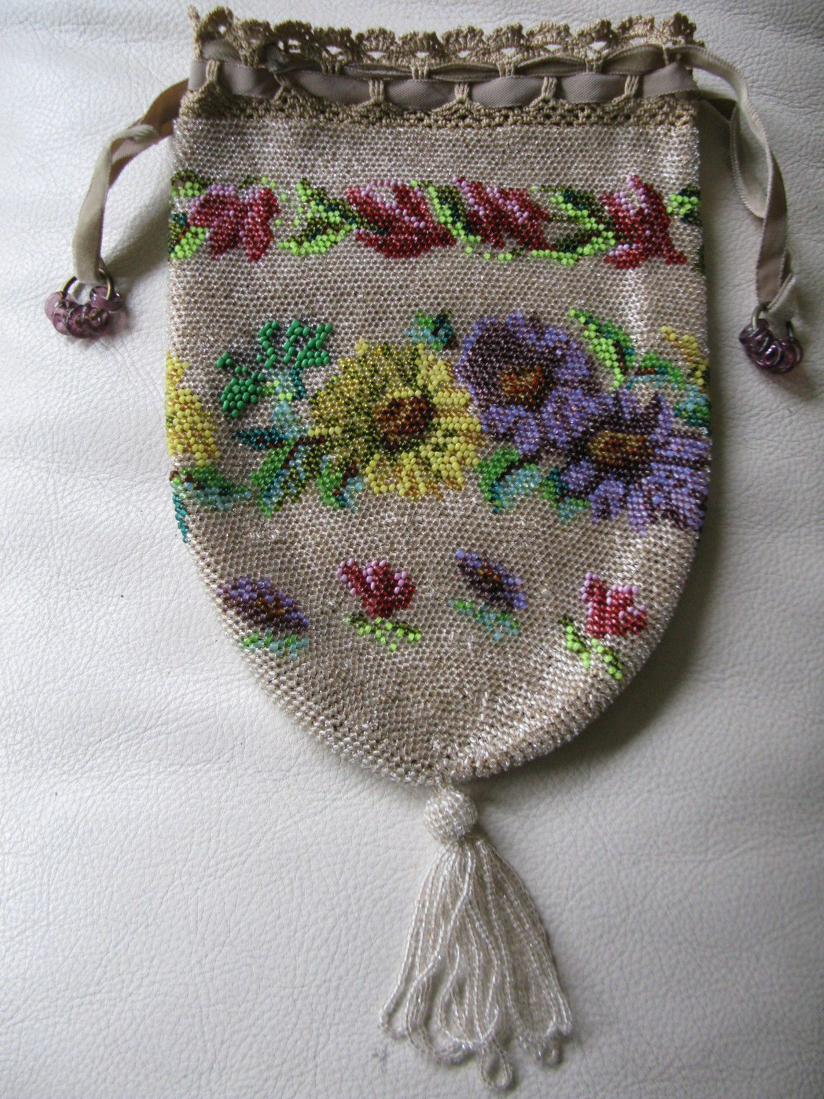 Antique Victorian Tan Crochet Knit Champagne Purple Drawstring ...