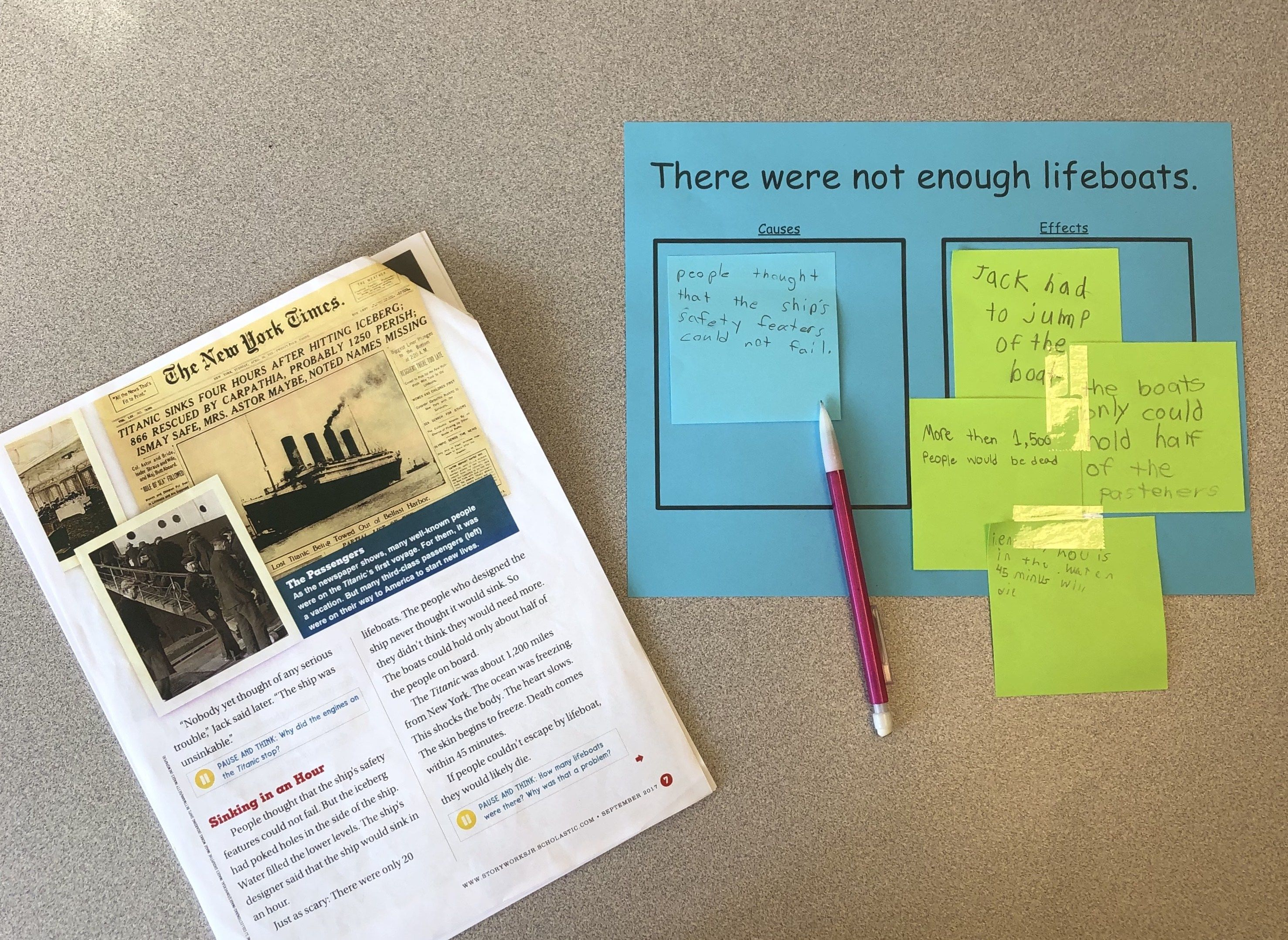 Students Used The Titanic Reading Article To Find Cause