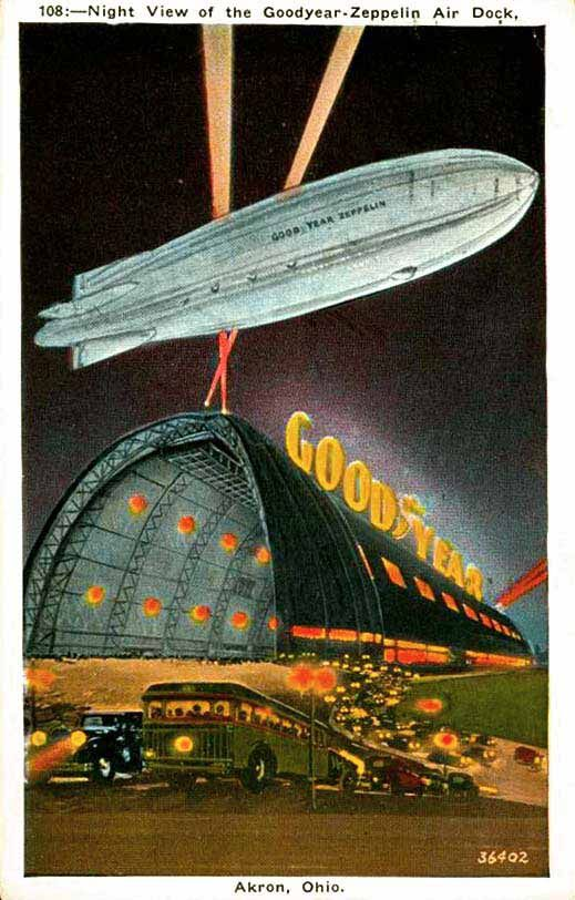 Akron Ohio Postcard Highlighting The Goodyear Blimp