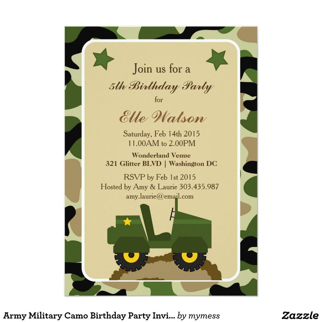 Invitaciones Militares De La Fiesta De Cumpleaños Zazzle