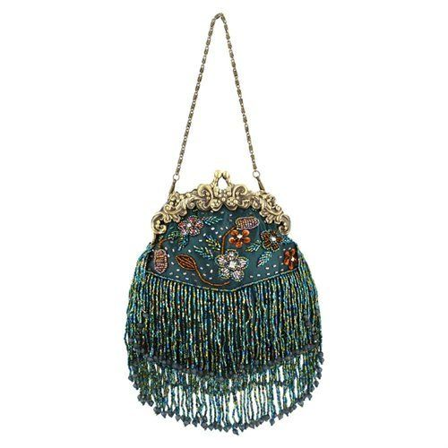 Vintage Flowers Seed Bead Flapper Clutch