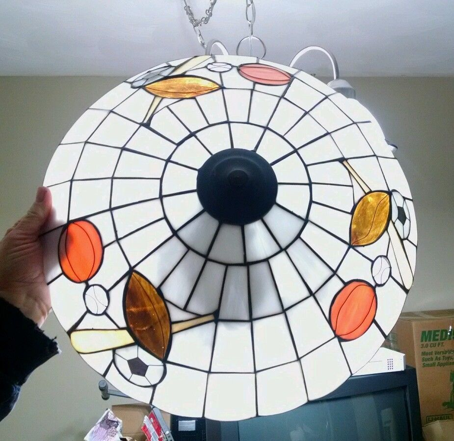 Stained Glass Sports Ceiling Light Fixture Football