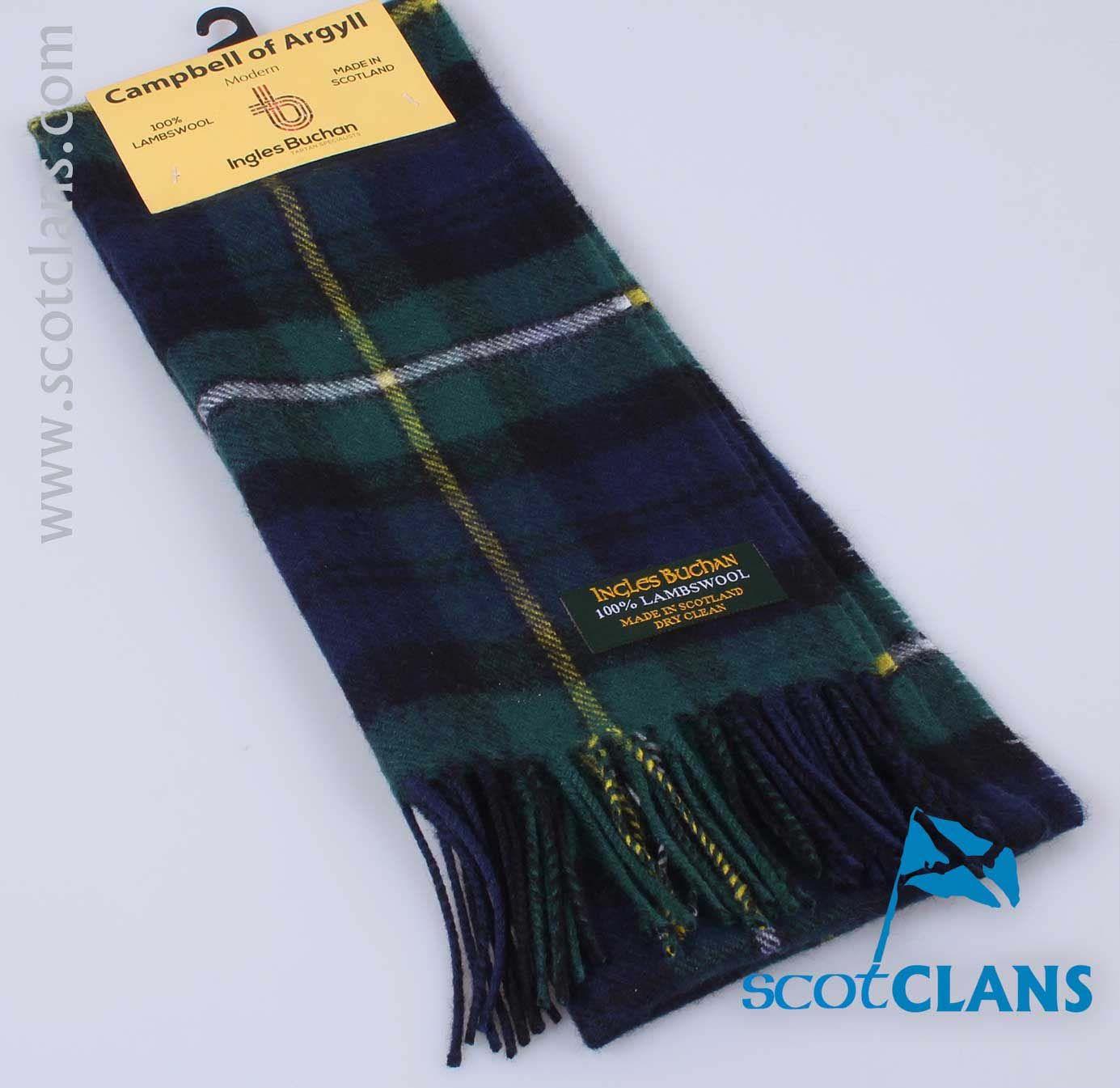 Campbell of Argyle Modern Tartan 100/% Lambswool Clan Scarf Made in Scotland