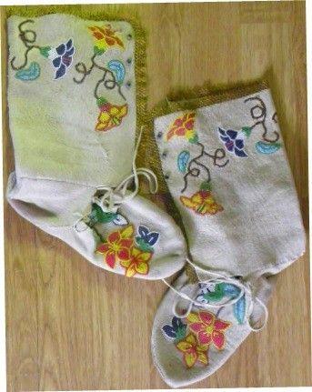 Vintage Beaded Boot Moccasins by BeadstoBuckskins
