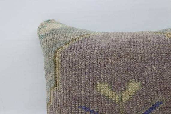 Rug Pillow 18x18, Cushion Cover, Purple Pillow, Home Decor Pillow,Turkey Pillow,Throw Pillow, Bohemi