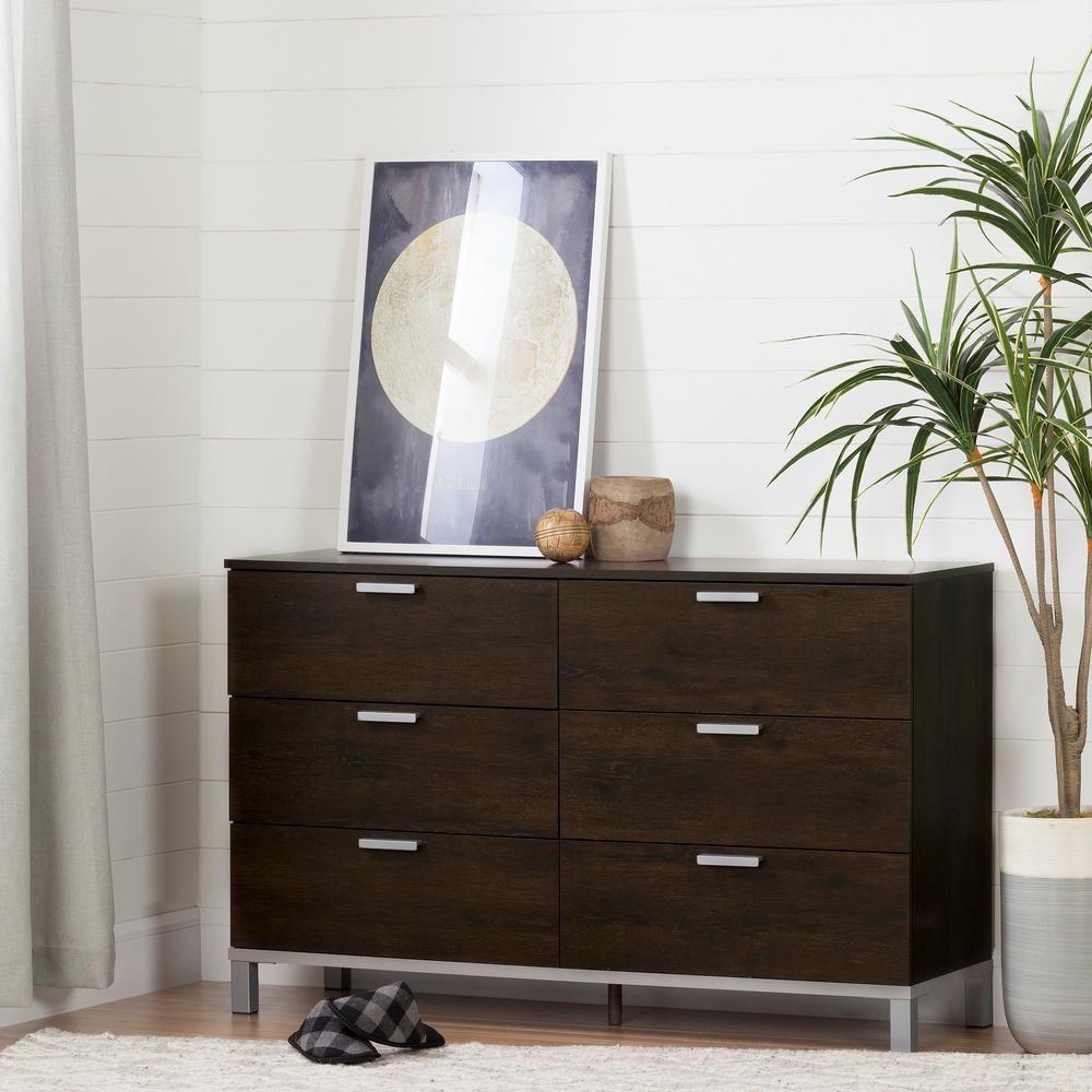 Flexible 6-Drawer Brown Oak Dresser