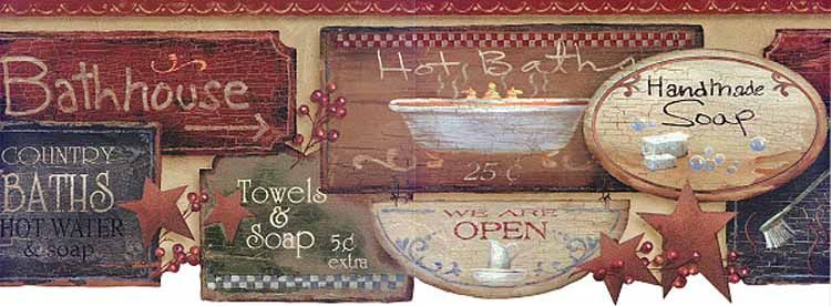 Cute Bathroom Wallpaper Border Bath Sign Wallpaper Borders For Bathrooms Primitive Decorating Country