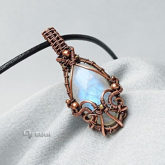 Wire jewelry moonstone boho pendant wire wrapped necklace | Artual ...