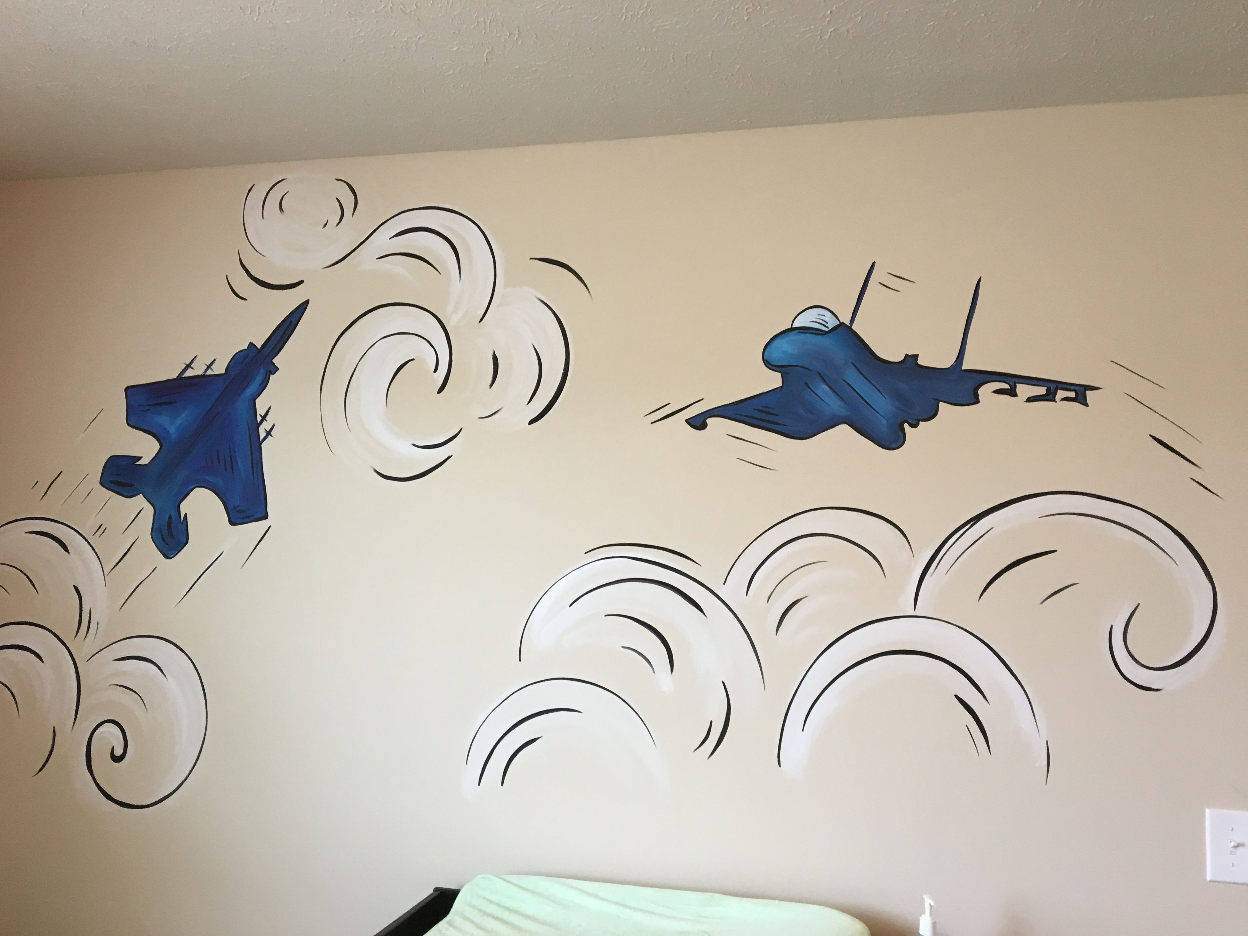 Jet Plane Nursery Custom Canvas Painting Mural Custom Canvas
