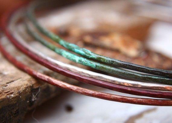 Mixed Metal Bangle Bracelets by indiaylaluna on Etsy
