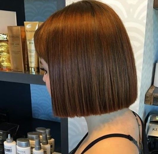 Blunt Chin Length Bob Haircut Hair Styles One Length Haircuts One Length Hair