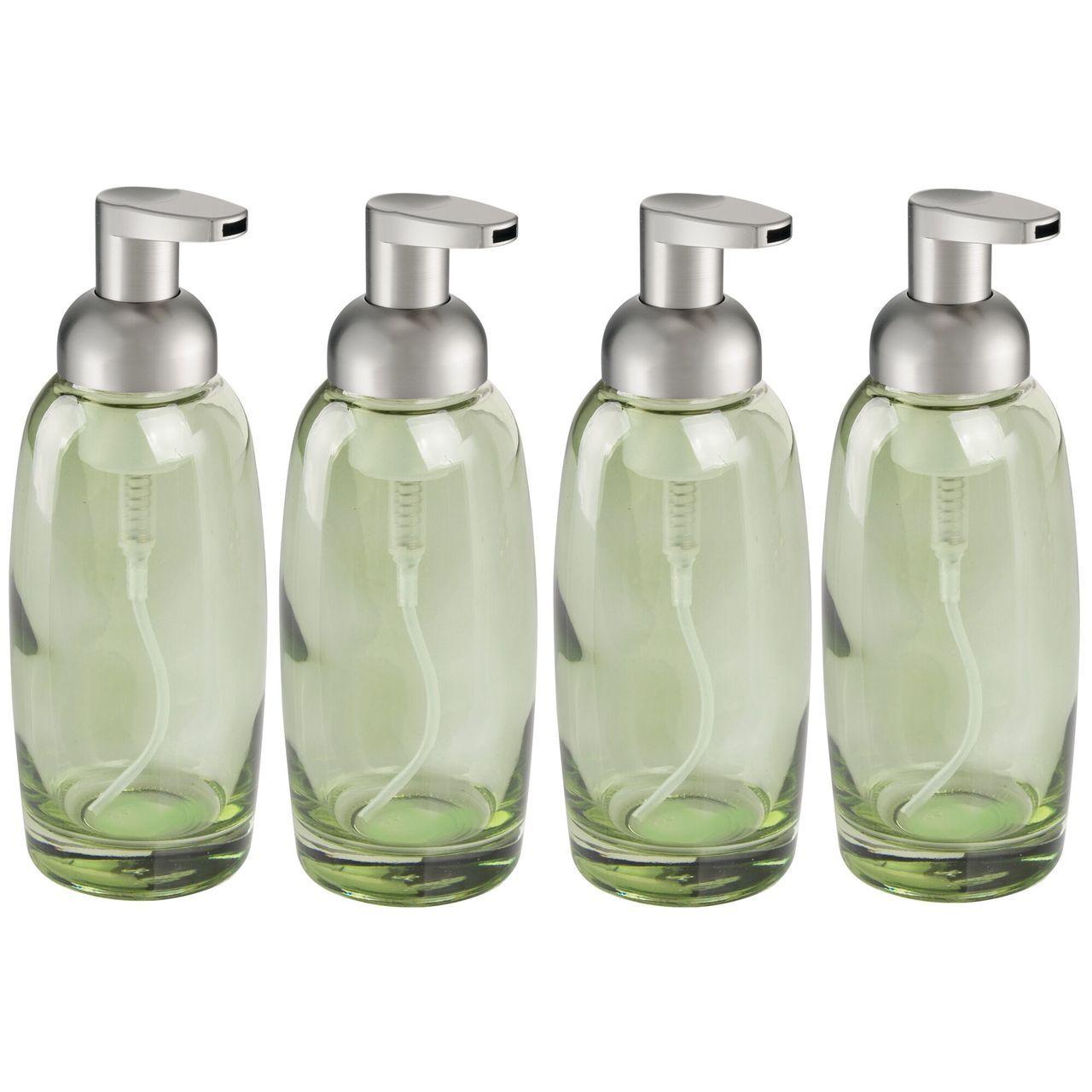 Modern Glass Refillable Foaming Soap Dispenser Pump In Green