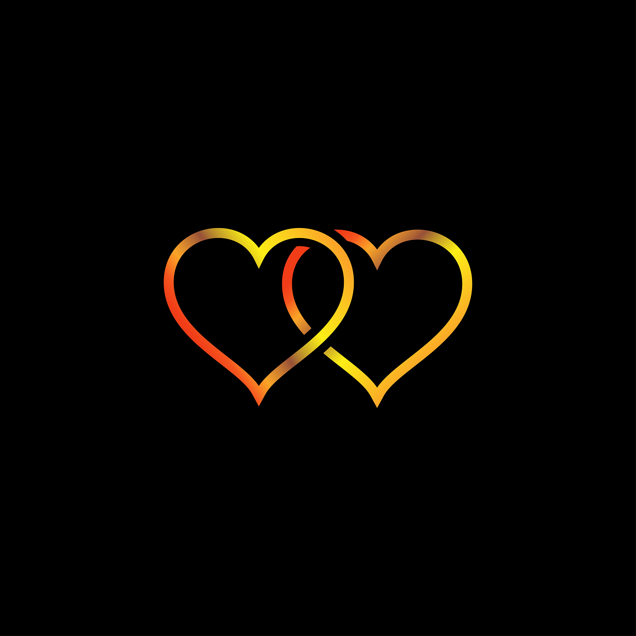 Vacation Heart Gold Black Background Love vacation heart