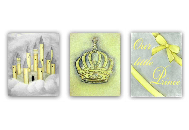 Baby Boy Nursery Yellow and Grey Little Prince Wall Art SET OF 3 ...