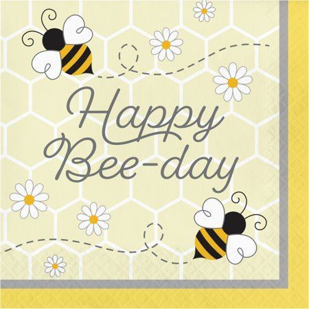 Bumblebee Baby Happy Birthday Napkins, 48 Count - Walmart.com, #Baby #birthday #Bumblebee #Count #Happy #napkins #Walmartcom