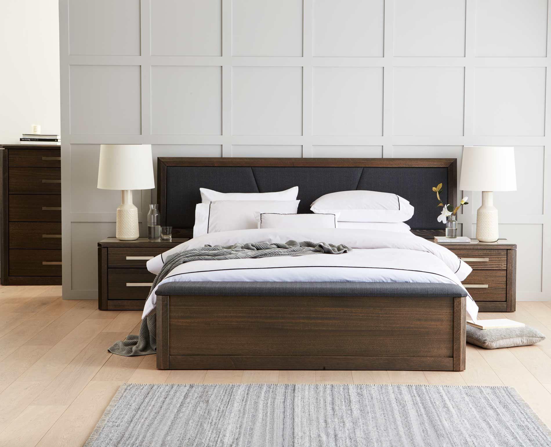 Maitland Qb Bed W Box Foot Storage Charcoal Custom Bed Furniture Design Bed Furniture Charcoal Bedroom Furniture