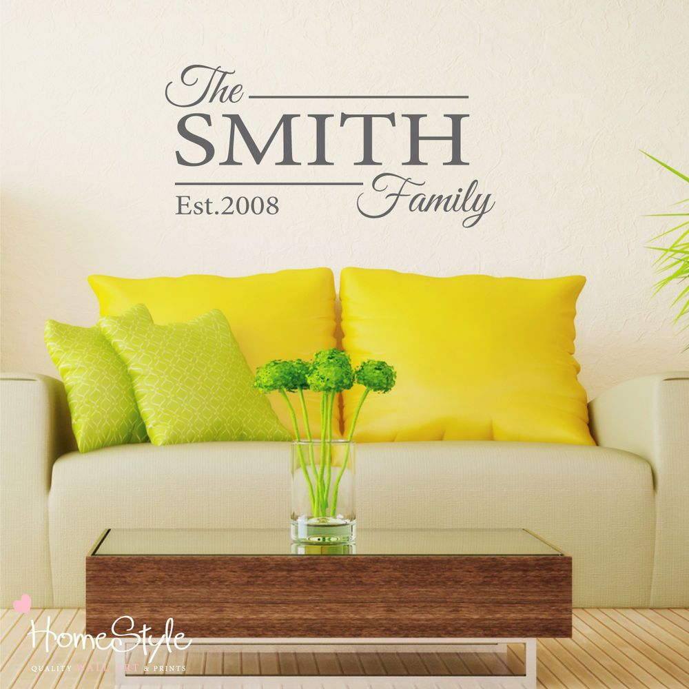 PERSONALISED FAMILY NAME WALL DECALS STICKERS ART HOME DECOR FREE UK ...
