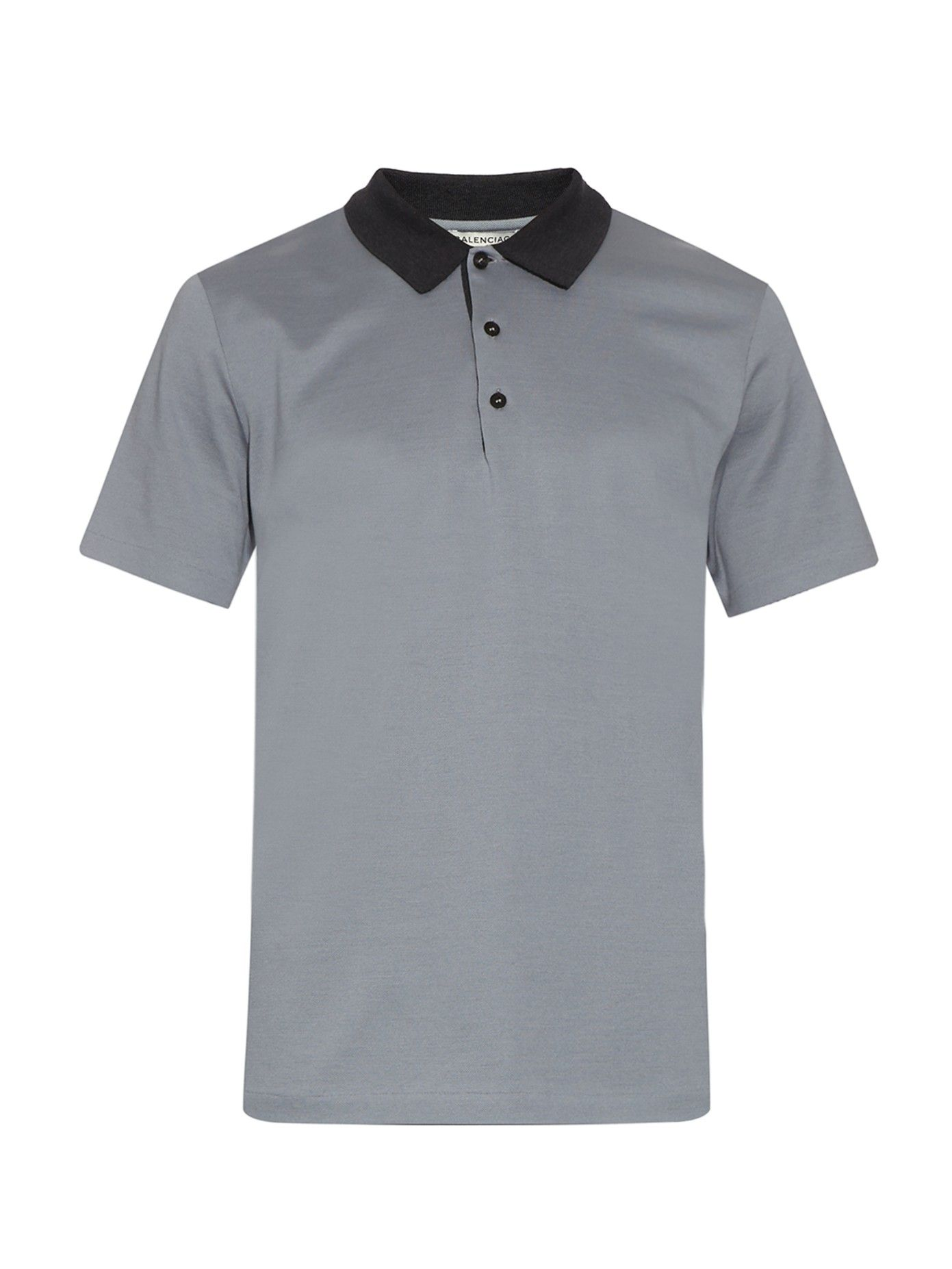 43e568c047a6 Contrast-collar cotton-piqué polo shirt | Balenciaga | MATCHESFASHION.COM UK