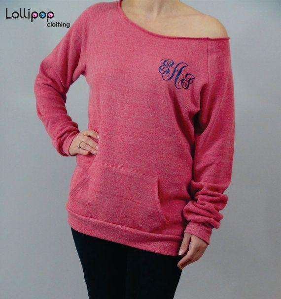 5915511f097e1 off shoulder Monogram shirt Womens sweater Slouchy sweatshirt womens ...
