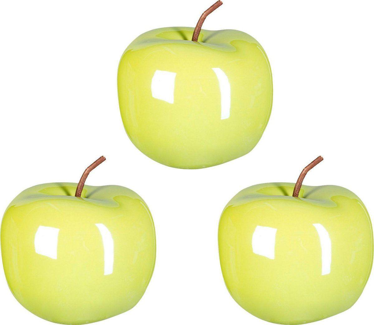 Keramik Deko Apfel Pearl Efct 3er Set Karamel Apfel Apfel