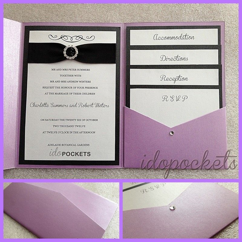 POCKET FOLD WEDDING INVITATIONS DIY ENVELOPES INVITE METALLIC SLEEVE ...