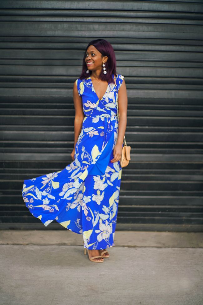 04ab6f190fd Blue Floral Print Maxi Dress