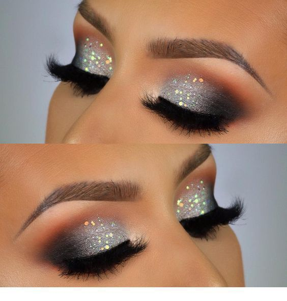 Sehr süßes graues silbernes Glitzeraugen Make-up #Grau, #eyemakeupgrau #glittereyemakeup