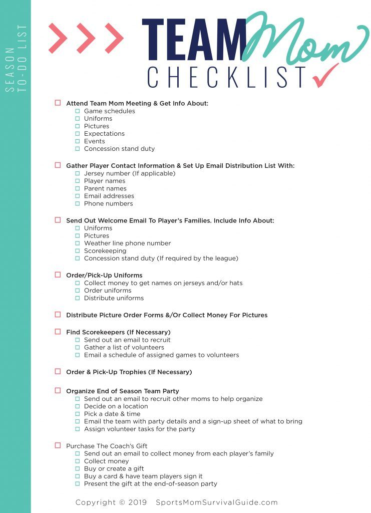 Sports Mom To Do Checklists Scheduling Templates Team Mom Schedule Templates To Do Checklist