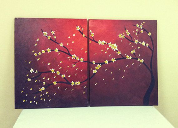 Original Abstract Cherry Blossom Tree Dimensions 20x32 By Dearlylovedshop Tree Painting Canvas Canvas Art Projects Tree Canvas