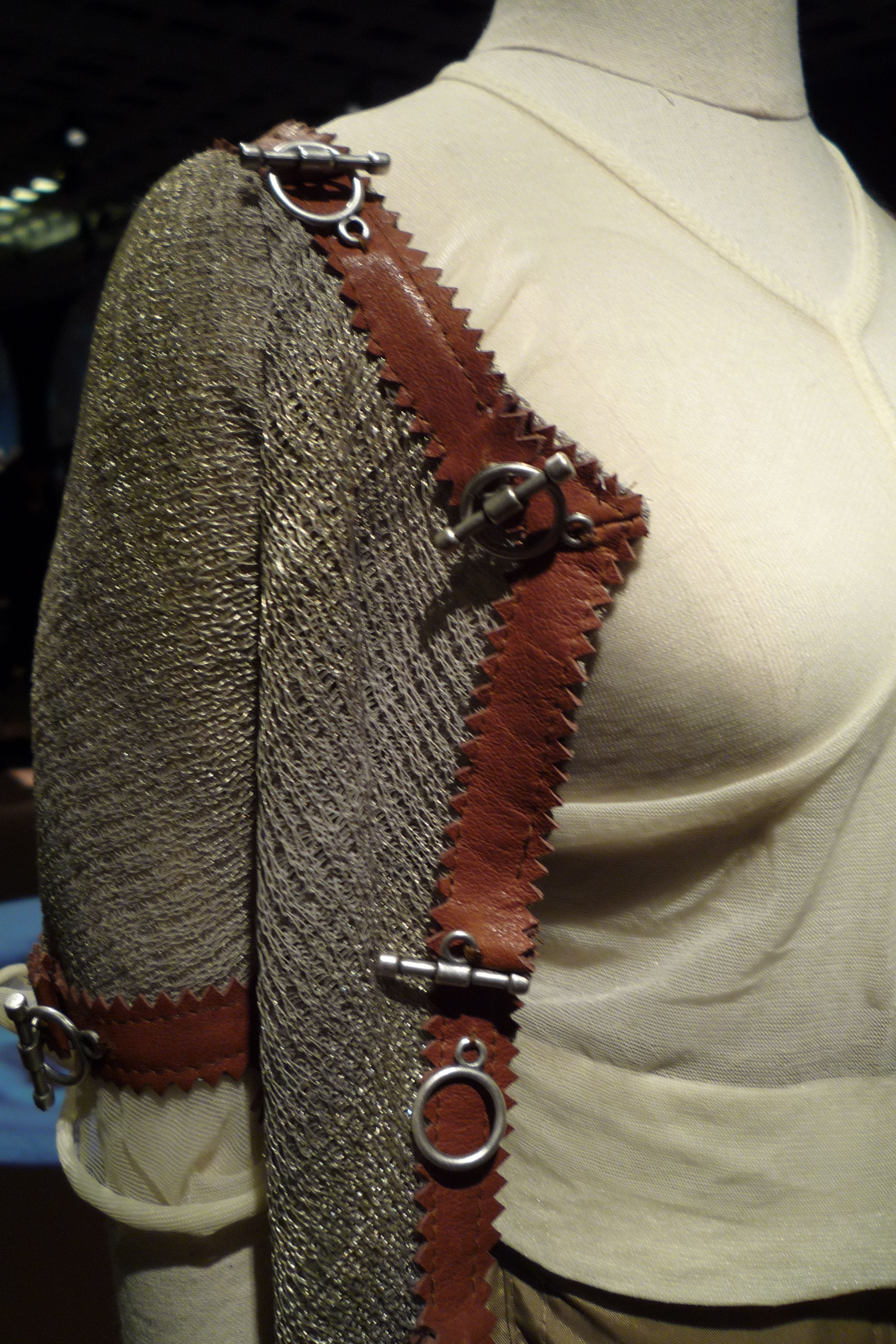 Leather trim detail on knit