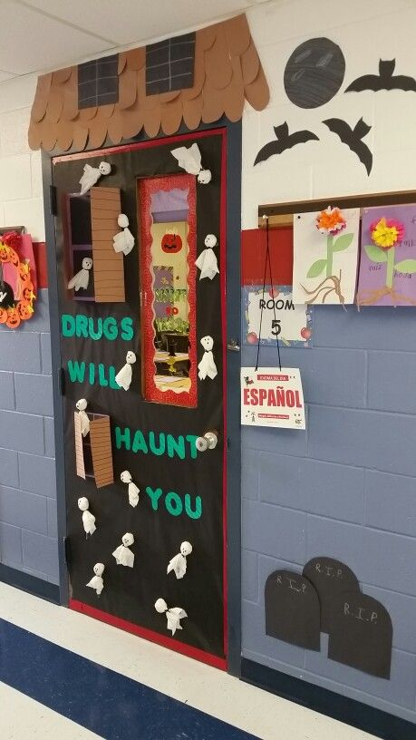 Door I made for red ribbon week. Incorporated Halloween