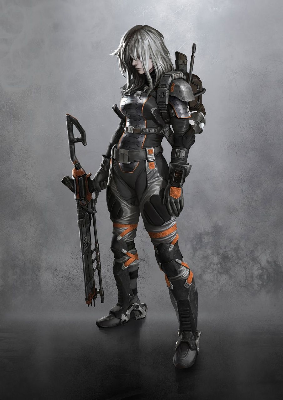 Female soldier, futuristic fighter, warrior android cyborg ...