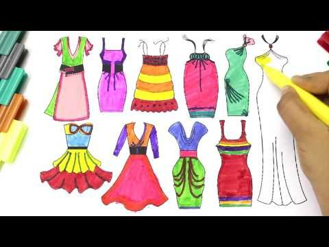 How To Draw Dresses Clothes For Girls Coloring Pages For Kids Art Colors For Children Youtube In 2020 Dress Design Sketches Coloring For Kids Children Sketch