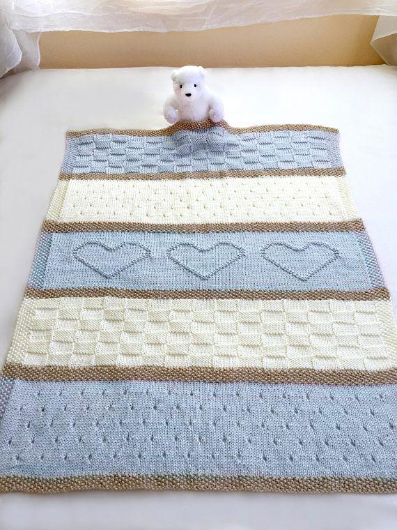 Knit Baby Blanket Pattern, Heart Baby Blanket Pattern, Easy Knitting Pattern by Deborah O'Leary