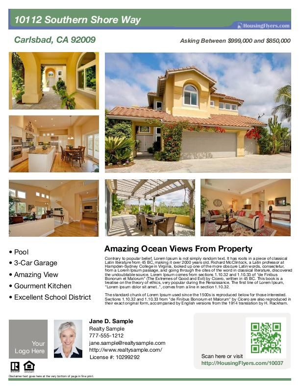 Real estate flyer with 6 photos customize this flyer with for House for sale brochure template
