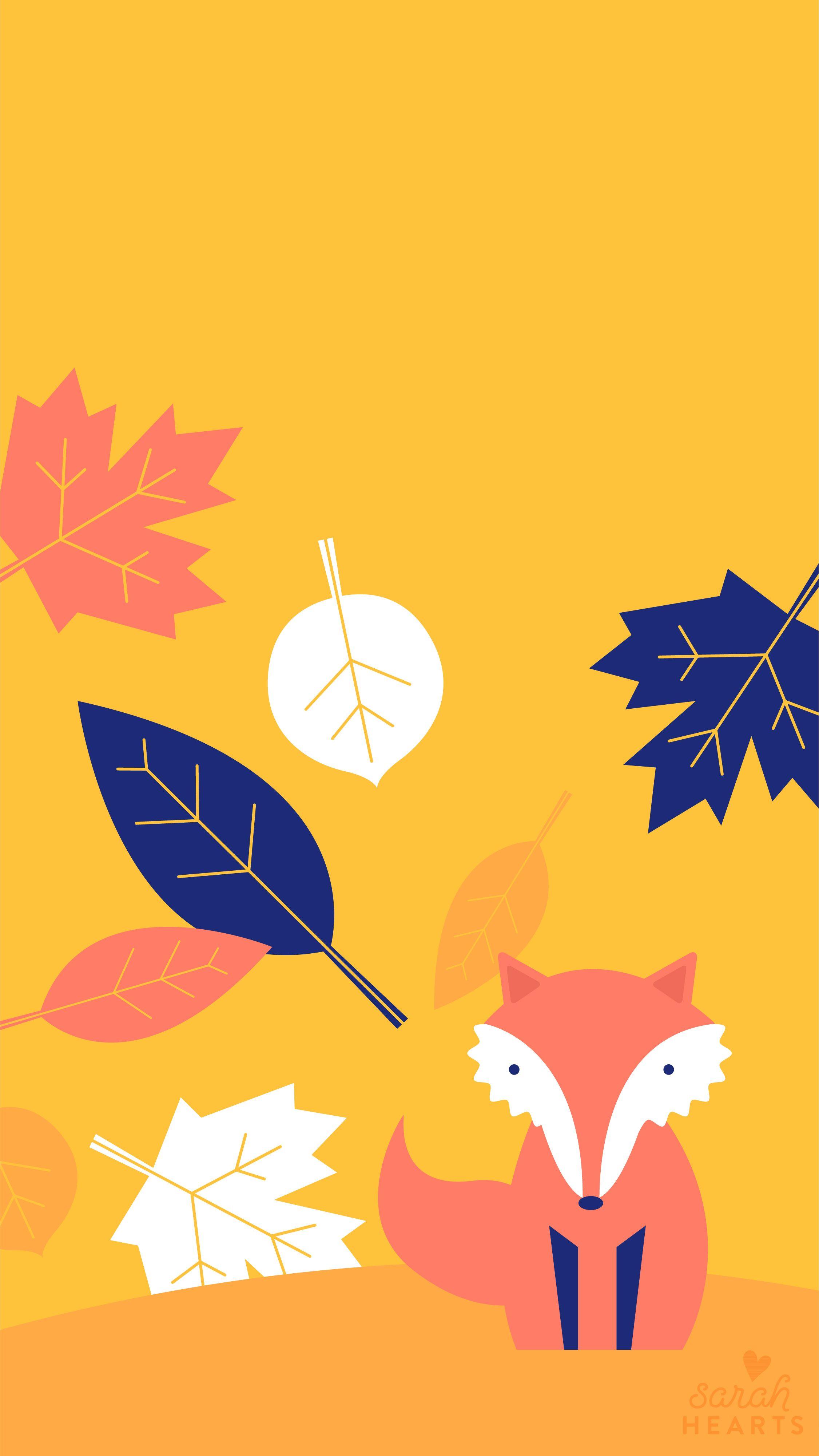 Fall Leaf and Fox October 2017 Calendar Wallpaper