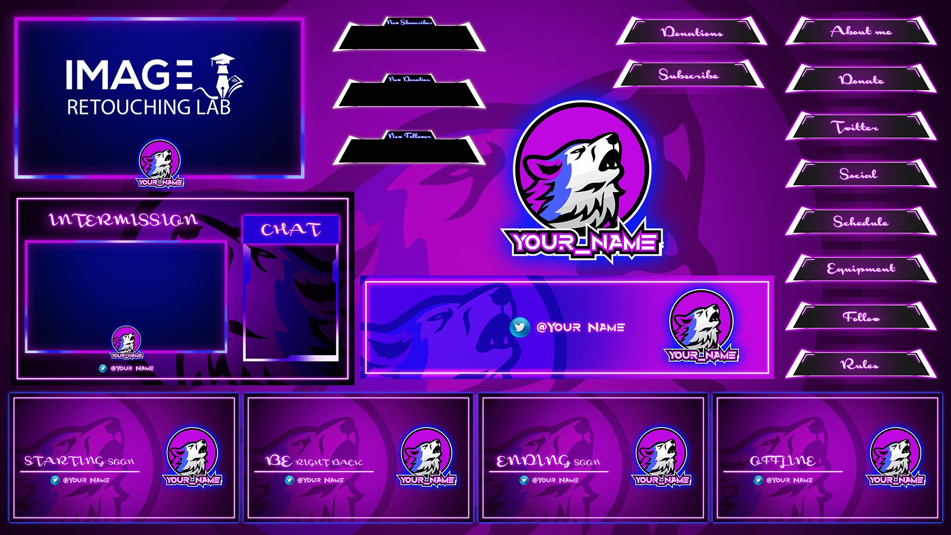 Design gaming twitch overlay, logo and screen for
