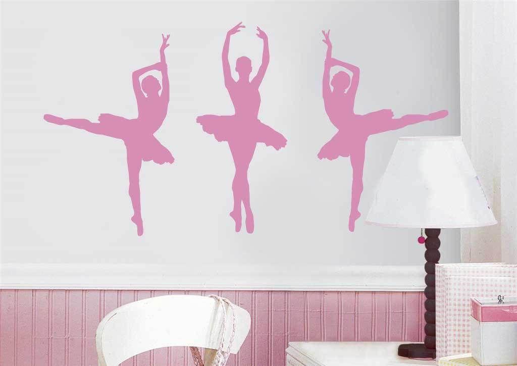 3 X ballerina wall sticker girls boys bedroom childrens