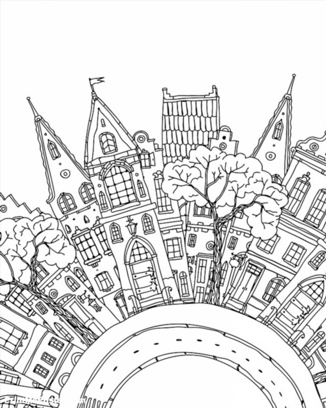 Poster Of Pattern For Coloring Book With Artistically Houses Magic City With Fairy Tale Houses High Detail Coloring Books Detailed Coloring Pages Fairy Tales