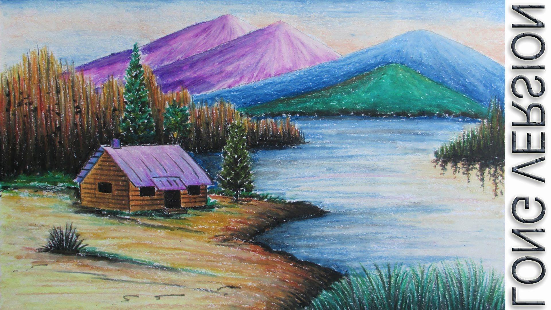 Oil Pastel Landscape Beautiful Landscape Color Drawing